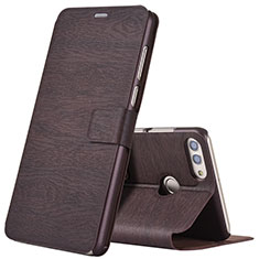 Handytasche Stand Schutzhülle Leder für Huawei Enjoy 8 Plus Braun