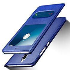 Handytasche Stand Schutzhülle Leder für Huawei G10 Blau