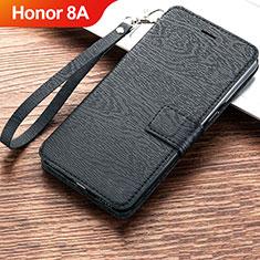 Handytasche Stand Schutzhülle Leder für Huawei Honor 8A Schwarz