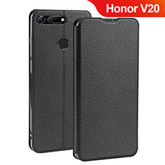 Handytasche Stand Schutzhülle Leder für Huawei Honor V20 Schwarz