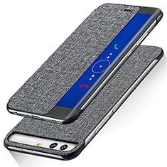 Handytasche Stand Schutzhülle Leder für Huawei P10 Grau