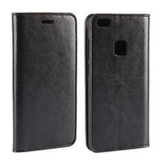 Handytasche Stand Schutzhülle Leder für Huawei P10 Lite Schwarz