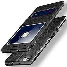 Handytasche Stand Schutzhülle Leder für Huawei P8 Lite Schwarz