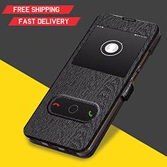 Handytasche Stand Schutzhülle Leder für Huawei Y6 (2019) Schwarz
