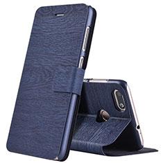 Handytasche Stand Schutzhülle Leder für Huawei Y6 Pro (2017) Blau