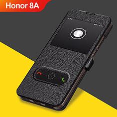 Handytasche Stand Schutzhülle Leder für Huawei Y6 Pro (2019) Schwarz