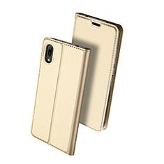 Handytasche Stand Schutzhülle Leder für Huawei Y7 Prime (2019) Gold