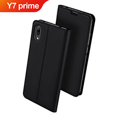 Handytasche Stand Schutzhülle Leder für Huawei Y7 Prime (2019) Schwarz