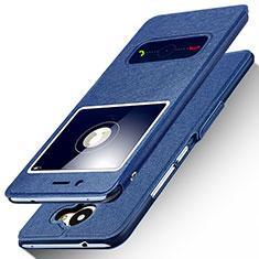 Handytasche Stand Schutzhülle Leder für Huawei Y7 Prime Blau