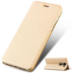 Handytasche Stand Schutzhülle Leder für Huawei Y7 Prime Gold