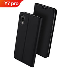 Handytasche Stand Schutzhülle Leder für Huawei Y7 Pro (2019) Schwarz