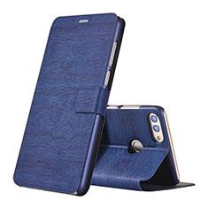 Handytasche Stand Schutzhülle Leder für Huawei Y9 (2018) Blau