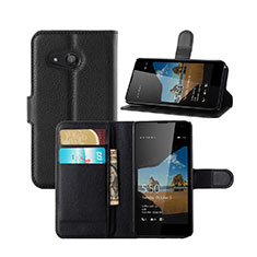 Handytasche Stand Schutzhülle Leder für Microsoft Lumia 550 Schwarz