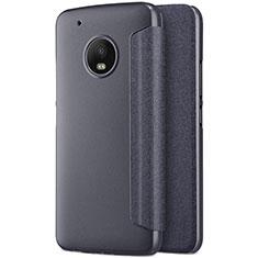 Handytasche Stand Schutzhülle Leder für Motorola Moto G5 Plus Schwarz