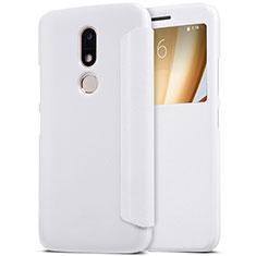 Handytasche Stand Schutzhülle Leder für Motorola Moto M XT1662 Weiß