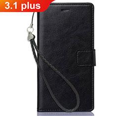 Handytasche Stand Schutzhülle Leder für Nokia 3.1 Plus Schwarz