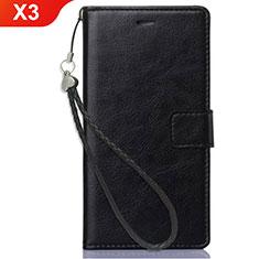 Handytasche Stand Schutzhülle Leder für Nokia X3 Schwarz