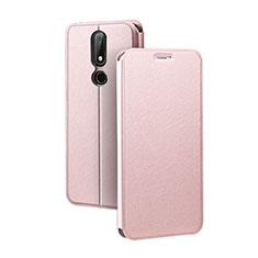 Handytasche Stand Schutzhülle Leder für Nokia X5 Rosegold