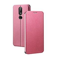 Handytasche Stand Schutzhülle Leder für Nokia X5 Rot