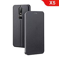 Handytasche Stand Schutzhülle Leder für Nokia X5 Schwarz