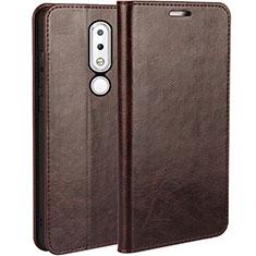 Handytasche Stand Schutzhülle Leder für Nokia X6 Braun