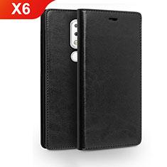 Handytasche Stand Schutzhülle Leder für Nokia X6 Schwarz