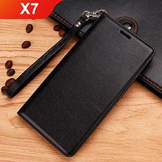 Handytasche Stand Schutzhülle Leder für Nokia X7 Schwarz