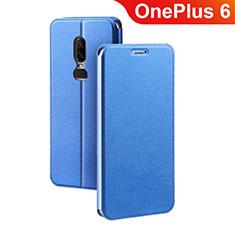 Handytasche Stand Schutzhülle Leder für OnePlus 6 Blau