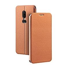 Handytasche Stand Schutzhülle Leder für OnePlus 6 Orange