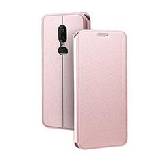 Handytasche Stand Schutzhülle Leder für OnePlus 6 Rosa