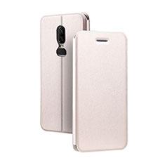 Handytasche Stand Schutzhülle Leder für OnePlus 6 Rosegold