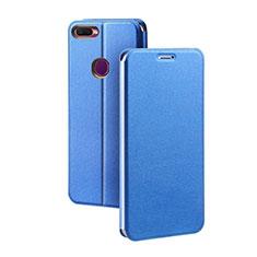 Handytasche Stand Schutzhülle Leder für Oppo A7 Blau