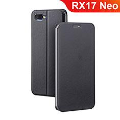 Handytasche Stand Schutzhülle Leder für Oppo RX17 Neo Schwarz