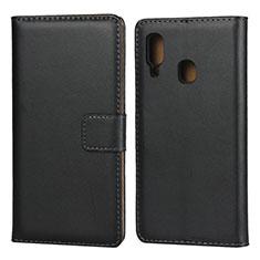 Handytasche Stand Schutzhülle Leder für Samsung Galaxy A20e Schwarz