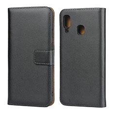 Handytasche Stand Schutzhülle Leder für Samsung Galaxy A30 Schwarz