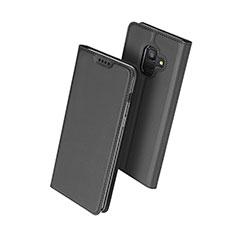 Handytasche Stand Schutzhülle Leder für Samsung Galaxy A6 (2018) Schwarz