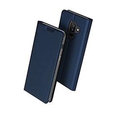 Handytasche Stand Schutzhülle Leder für Samsung Galaxy A6 Plus (2018) Blau