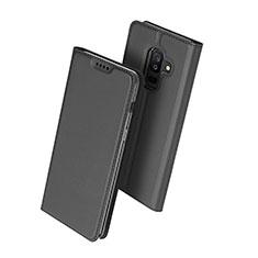 Handytasche Stand Schutzhülle Leder für Samsung Galaxy A6 Plus (2018) Schwarz