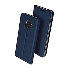 Handytasche Stand Schutzhülle Leder für Samsung Galaxy A8 (2018) A530F Blau