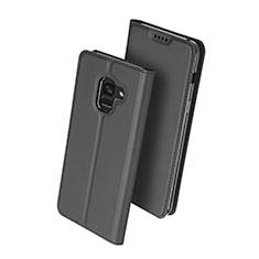 Handytasche Stand Schutzhülle Leder für Samsung Galaxy A8 (2018) Duos A530F Schwarz