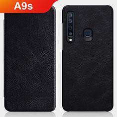 Handytasche Stand Schutzhülle Leder für Samsung Galaxy A9s Schwarz