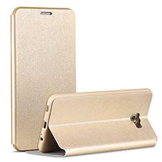 Handytasche Stand Schutzhülle Leder für Samsung Galaxy C7 Pro C7010 Gold