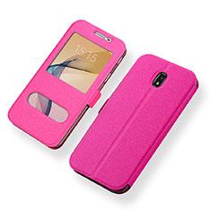 Handytasche Stand Schutzhülle Leder für Samsung Galaxy J5 (2017) SM-J750F Pink