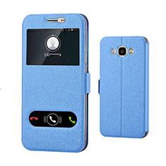 Handytasche Stand Schutzhülle Leder für Samsung Galaxy J7 (2016) J710F J710FN Blau