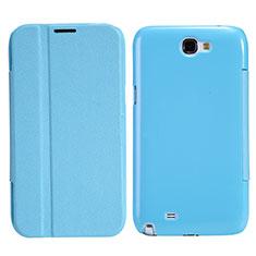 Handytasche Stand Schutzhülle Leder für Samsung Galaxy Note 2 N7100 N7105 Hellblau