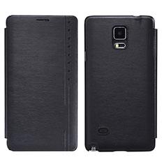 Handytasche Stand Schutzhülle Leder für Samsung Galaxy Note 4 Duos N9100 Dual SIM Schwarz