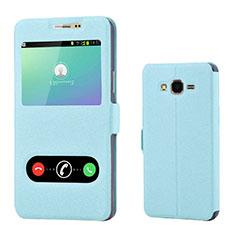 Handytasche Stand Schutzhülle Leder für Samsung Galaxy On7 G600FY Hellblau