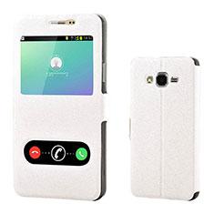 Handytasche Stand Schutzhülle Leder für Samsung Galaxy On7 G600FY Weiß