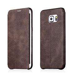 Handytasche Stand Schutzhülle Leder für Samsung Galaxy S6 Edge+ Plus SM-G928F Braun
