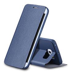 Handytasche Stand Schutzhülle Leder für Samsung Galaxy S6 Edge SM-G925 Blau